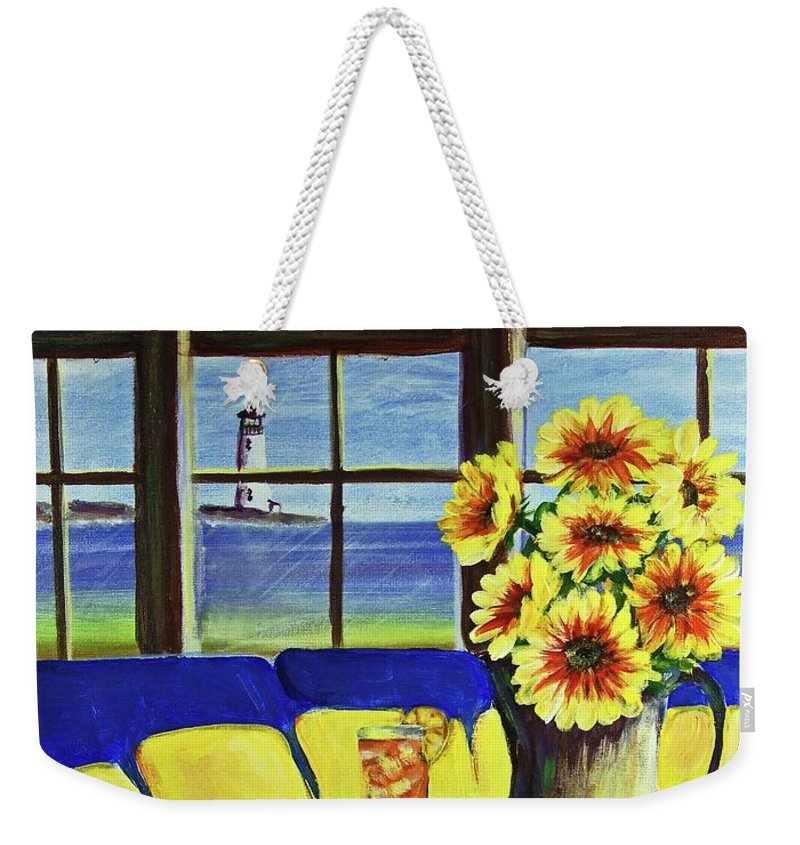 Beaches Weekender Tote Bag featuring the painting A Coastal Window Lighthouse View by Patricia L Davidson