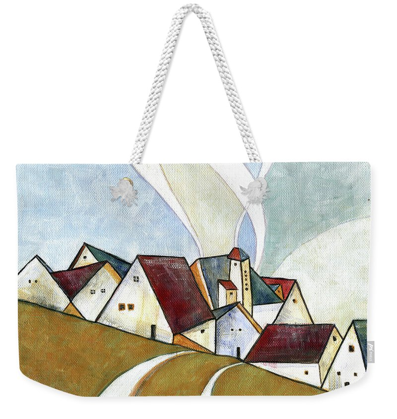 Original Art Weekender Tote Bag featuring the painting  A Cold Day by Aniko Hencz
