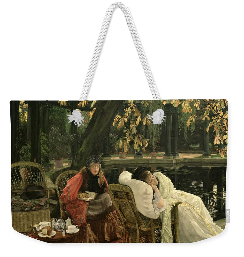 Illness; Lazing; Teatime; Unwell; Invalid; Nurse; Chaperone; Horse; Chestnut; Tree; Victorian; English; Girl; Colonnade; Pool; Autumn; Resting; Tissot; Tissot Garden; St John Wood Weekender Tote Bag featuring the painting A Convalescent by James Jacques Joseph Tissot