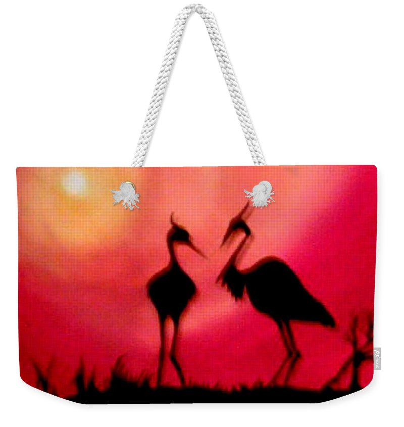 Swans Weekender Tote Bag featuring the painting A Conversation by Glory Fraulein Wolfe