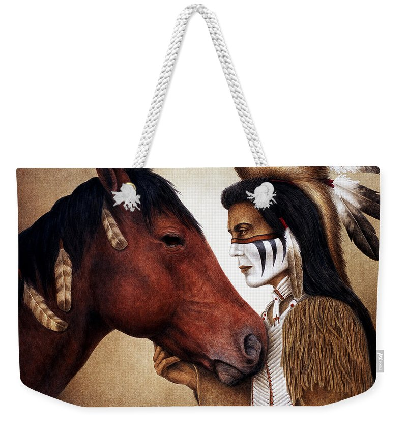 Horse Weekender Tote Bag featuring the painting A Conversation by Pat Erickson