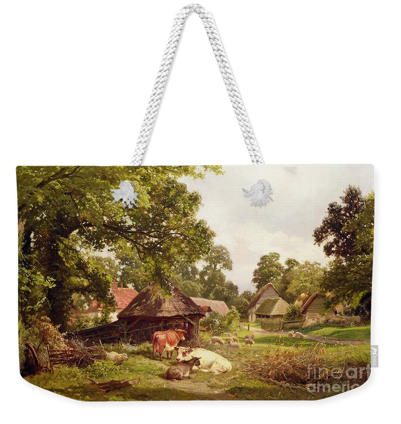 Cottage Weekender Tote Bag featuring the painting A Cottage Home In Surrey by Edward Henry Holder