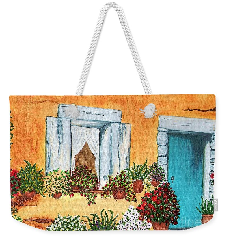 Watercolor Painting Weekender Tote Bag featuring the painting A Cottage In The Village by Patricia Griffin Brett