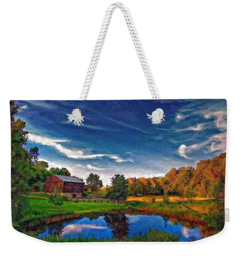 Pond Weekender Tote Bag featuring the photograph A Country Place Painted Version by Steve Harrington