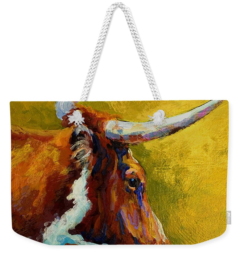 Western Weekender Tote Bag featuring the painting A Couple Of Pointers - Longhorn Steer by Marion Rose