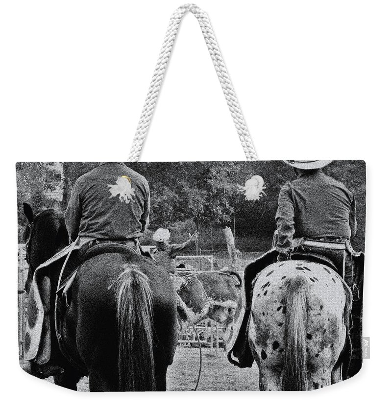 Rodeo Weekender Tote Bag featuring the photograph A Cowboys Life by September Stone