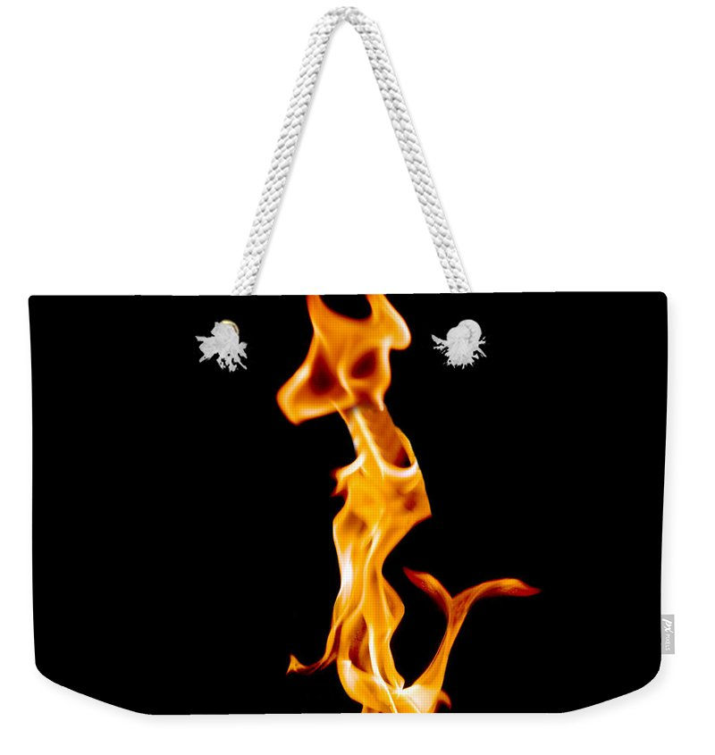 Fire Weekender Tote Bag featuring the photograph A Creature Of Another Planet by Munir Alawi