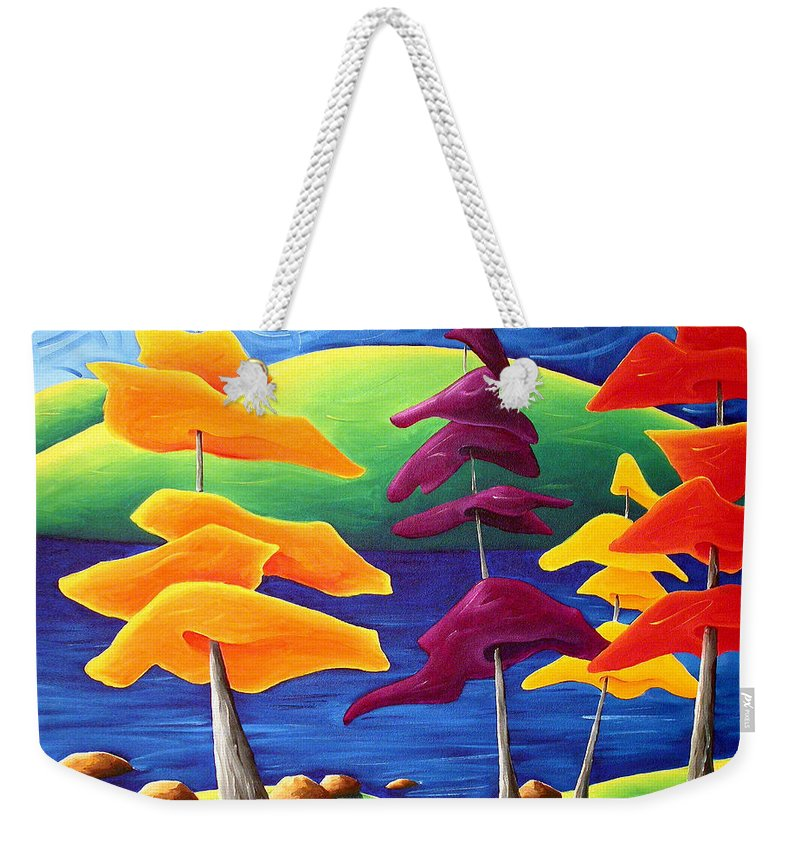 Landscape Weekender Tote Bag featuring the painting A Crowd Gathers by Richard Hoedl