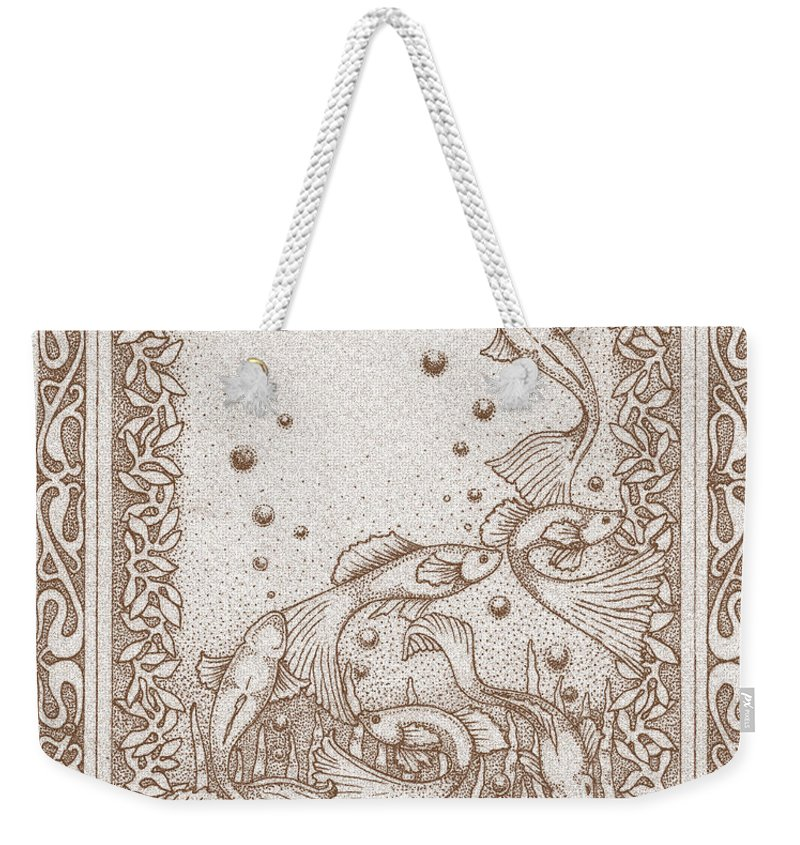 Fish Weekender Tote Bag featuring the drawing A Dance Around The Bubbles by Deborah Runham