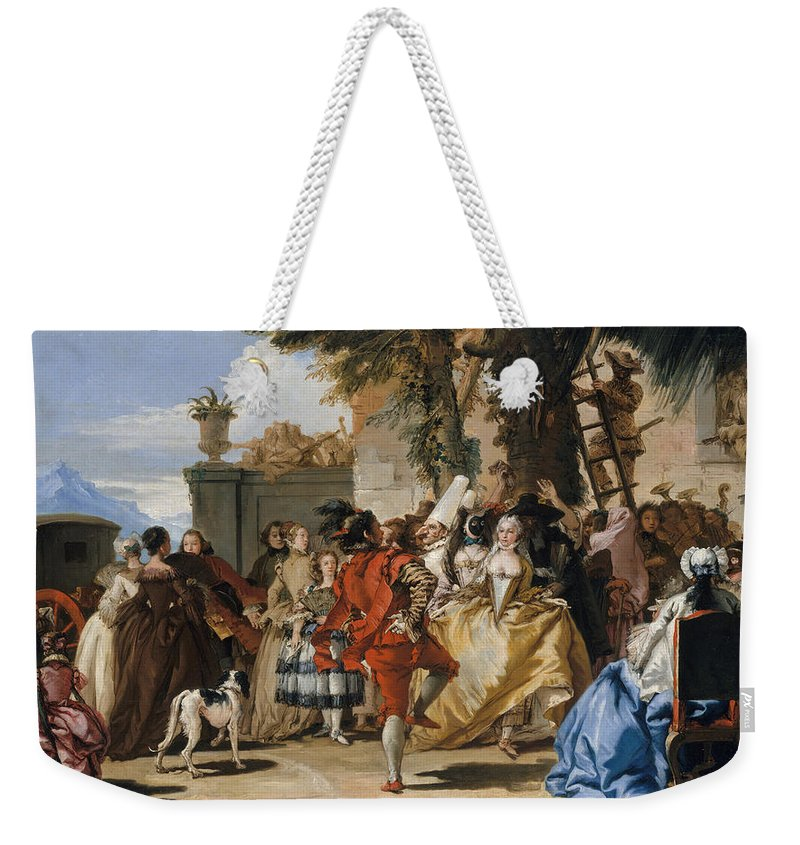 Giovanni Domenico Tiepolo Weekender Tote Bag featuring the painting A Dance In The Country by Giovanni Domenico Tiepolo