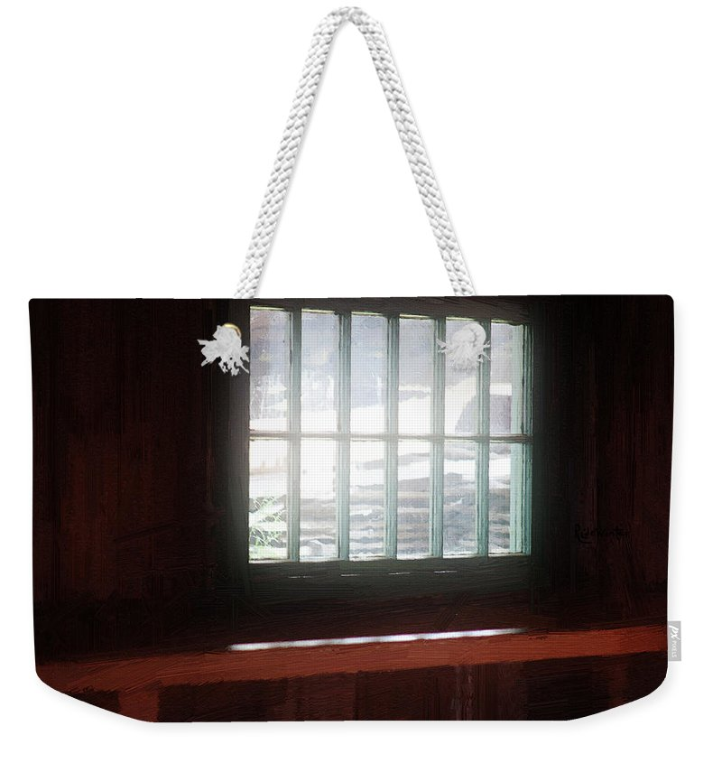 Window Weekender Tote Bag featuring the painting A Dark And Fearsome Place by RC DeWinter