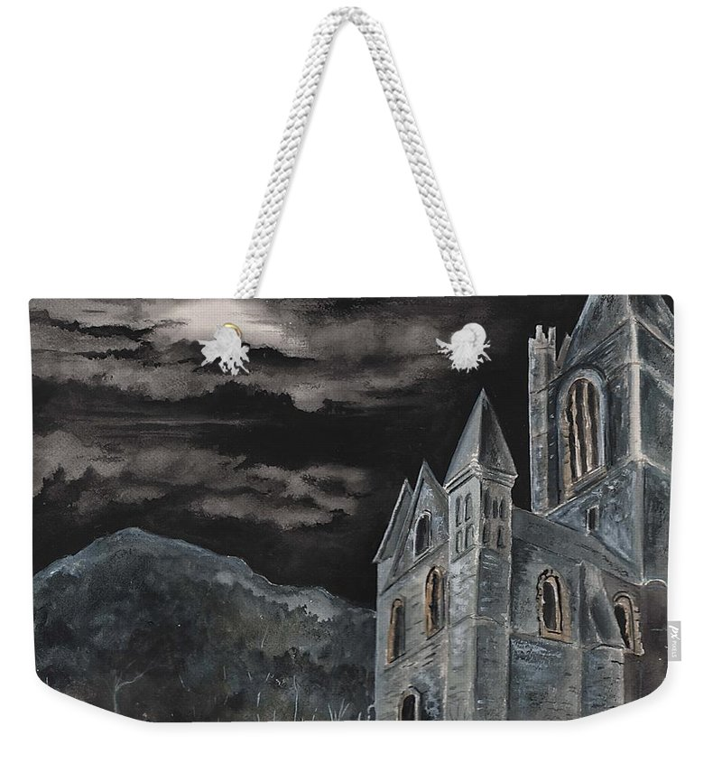 Landscape Gothic House Castle Church Dark Sky Watercolor Weekender Tote Bag featuring the painting A Dark Strange Night by Brenda Owen