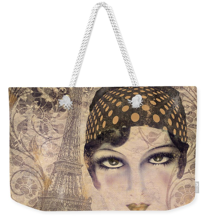 Vintage Paris Weekender Tote Bag featuring the painting A Date With Paris by Mindy Sommers