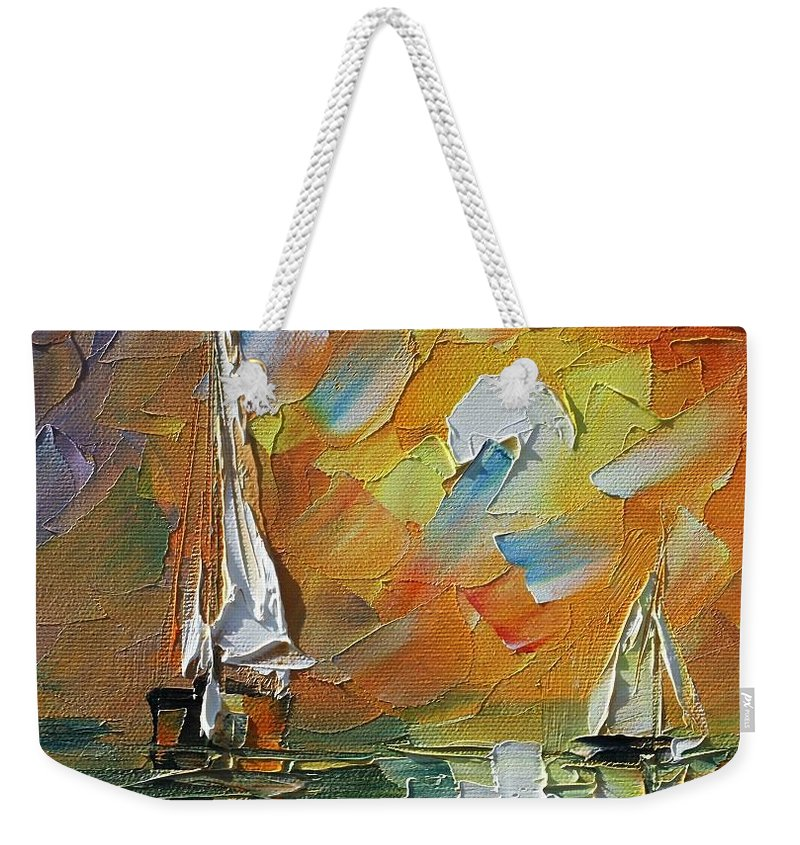 Afremov Weekender Tote Bag featuring the painting A Date With The Sunset by Leonid Afremov
