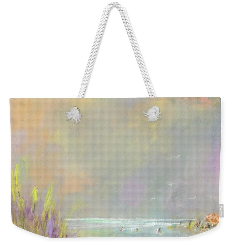 Landscapes Weekender Tote Bag featuring the painting A Day at the Beach by Frances Marino