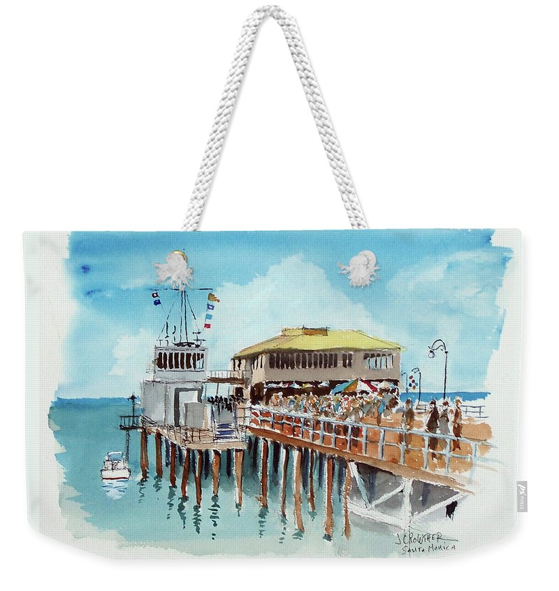 Marine Weekender Tote Bag featuring the painting A Day At The Shore by John Crowther