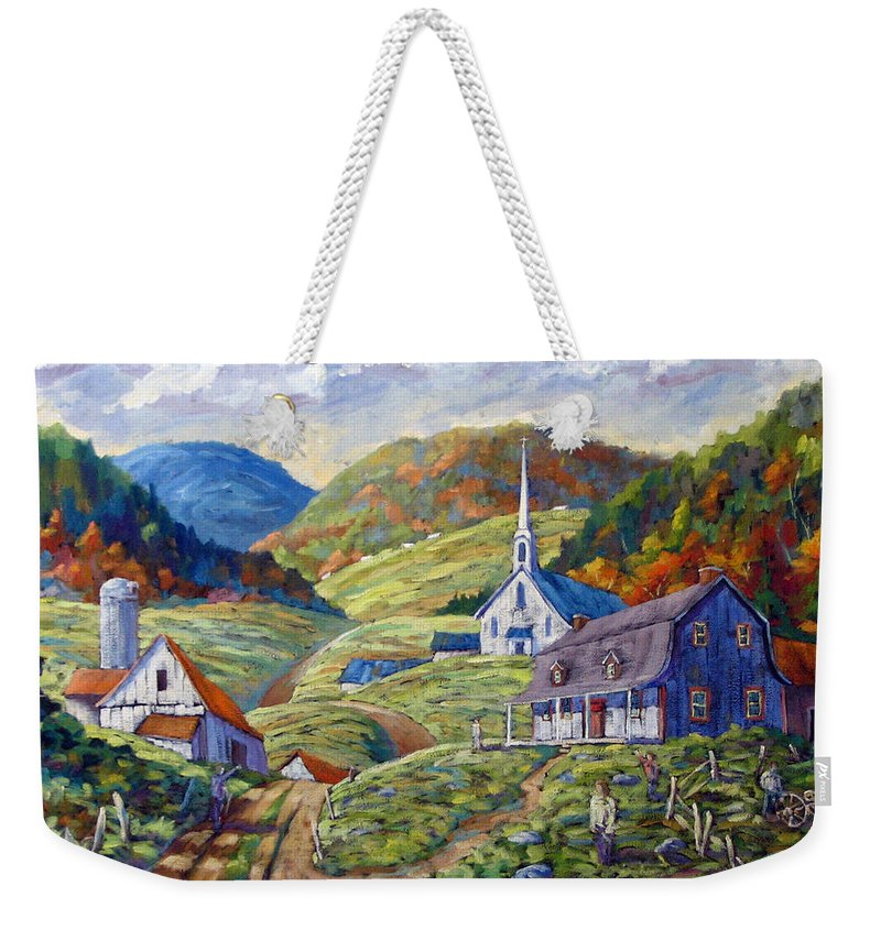 Landscape Weekender Tote Bag featuring the painting A Day In Our Valley by Richard T Pranke