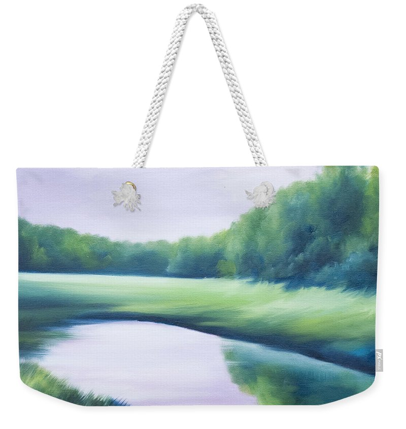Nature; Lake; Sunset; Sunrise; Serene; Forest; Trees; Water; Ripples; Clearing; Lagoon; James Christopher Hill; Jameshillgallery.com; Foliage; Sky; Realism; Oils; Green; Tree; Blue; Pink; Pond; Lake Weekender Tote Bag featuring the painting A Day In The Life 1 by James Christopher Hill