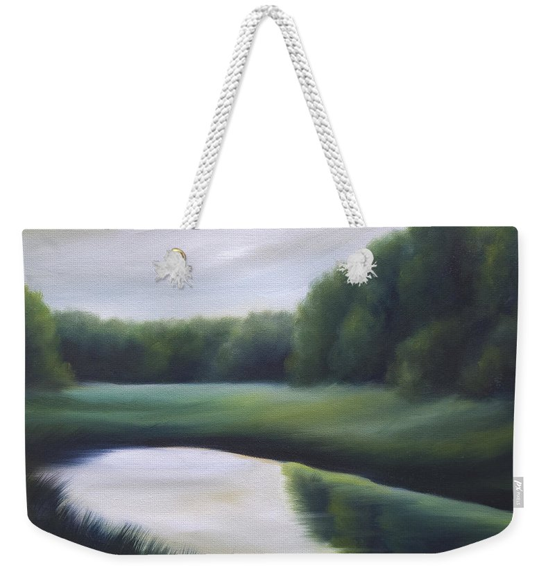 Nature; Lake; Sunset; Sunrise; Serene; Forest; Trees; Water; Ripples; Clearing; Lagoon; James Christopher Hill; Jameshillgallery.com; Foliage; Sky; Realism; Oils; Green; Tree Weekender Tote Bag featuring the painting A Day In The Life 3 by James Christopher Hill