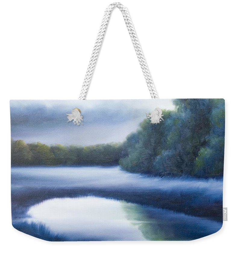 Nature; Lake; Sunset; Sunrise; Serene; Forest; Trees; Water; Ripples; Clearing; Lagoon; James Christopher Hill; Jameshillgallery.com; Foliage; Sky; Realism; Oils; Green; Tree; Blue; Pink; Pond; Lake Weekender Tote Bag featuring the painting A Day In The Life 4 by James Christopher Hill