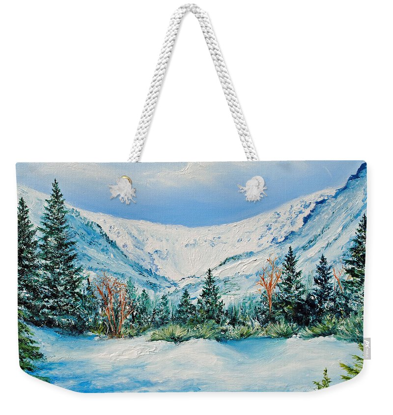 Mt. Washington Weekender Tote Bag featuring the painting A Day In Tuckerman's by Jessica Fligg