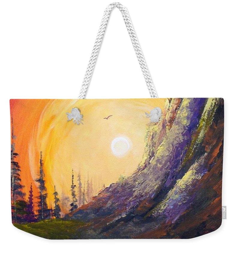 Mountain Weekender Tote Bag featuring the painting A Different Look by Glen Mcclements