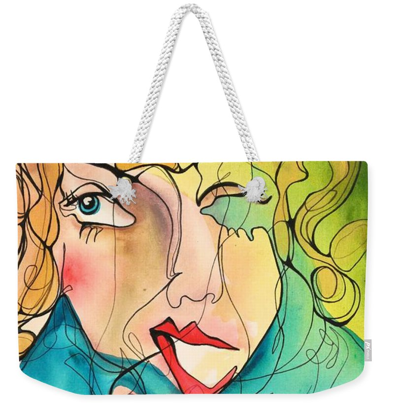 Acrylic Painting Weekender Tote Bag featuring the painting A Drowning Demise by Darcy Lee Saxton