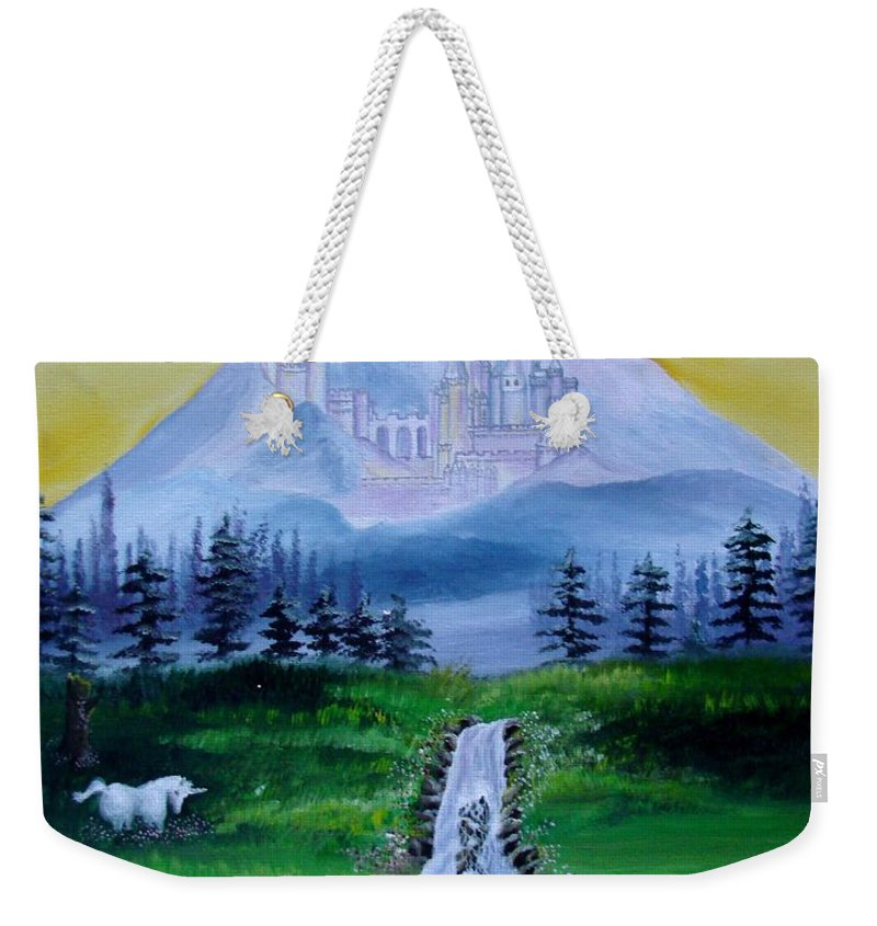 Landscape Weekender Tote Bag featuring the painting A Fairytale by Glory Fraulein Wolfe