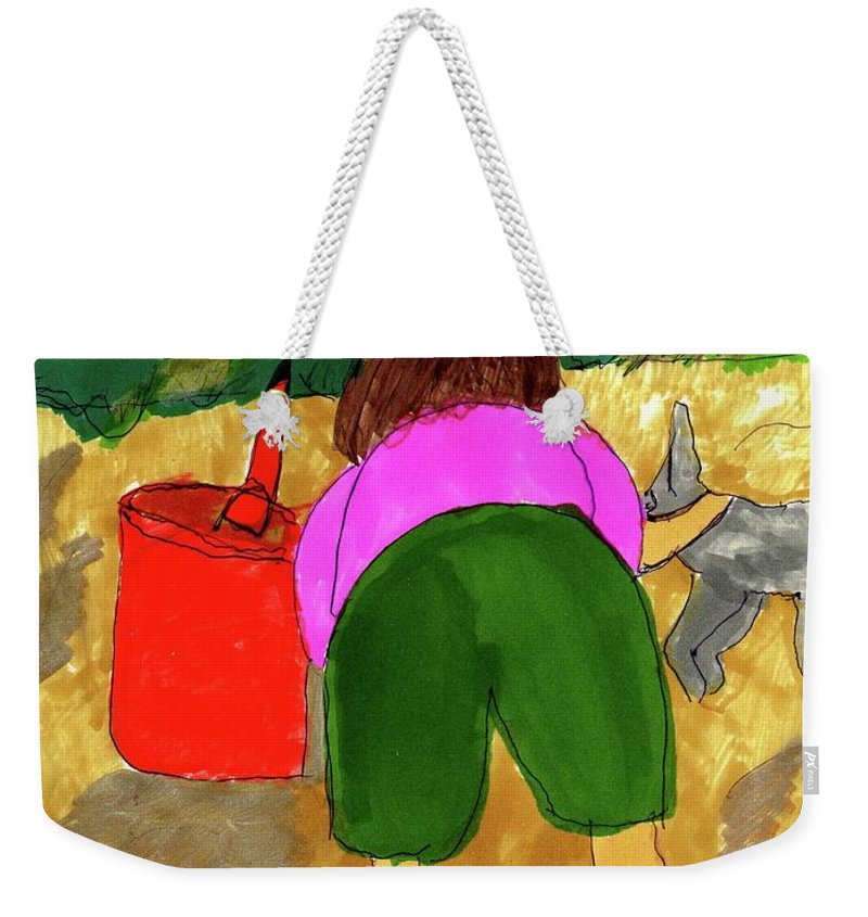 A Child With Her Dog On The Beach Weekender Tote Bag featuring the mixed media A Fall Walk On The Beach by Elinor Helen Rakowski