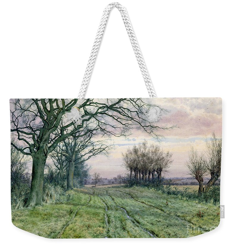 Fenland Weekender Tote Bag featuring the painting A Fenland Lane With Pollarded Willows by William Fraser Garden