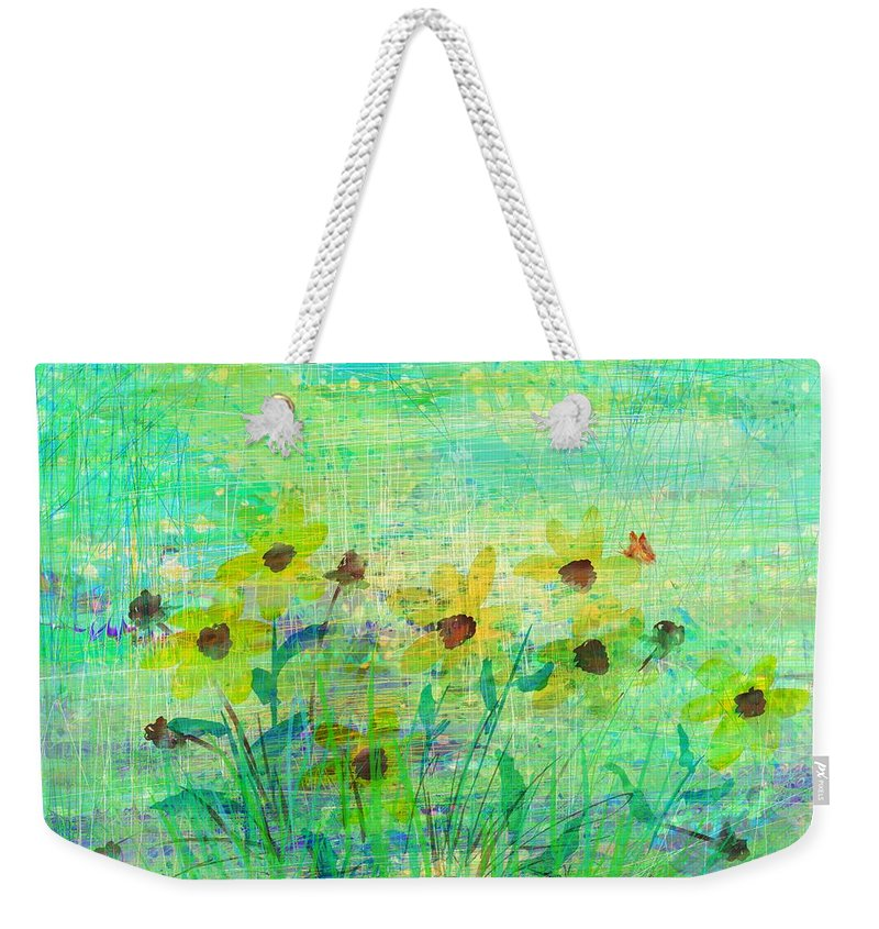 Abstract Weekender Tote Bag featuring the digital art A Few Last Snacks by Rachel Christine Nowicki