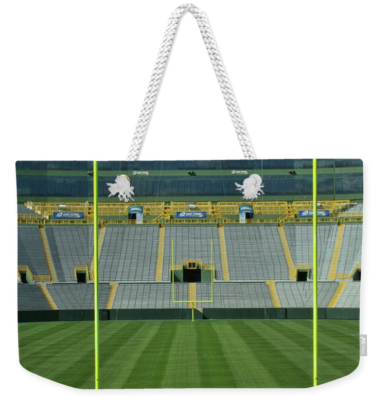 Lambeau Field Weekender Tote Bag featuring the photograph A Field Of Honor by Tommy Anderson