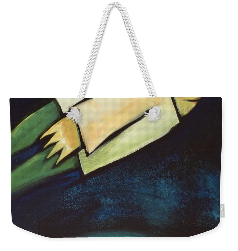 Universe Weekender Tote Bag featuring the painting A Finger Two Dots Then Me by Tim Nyberg