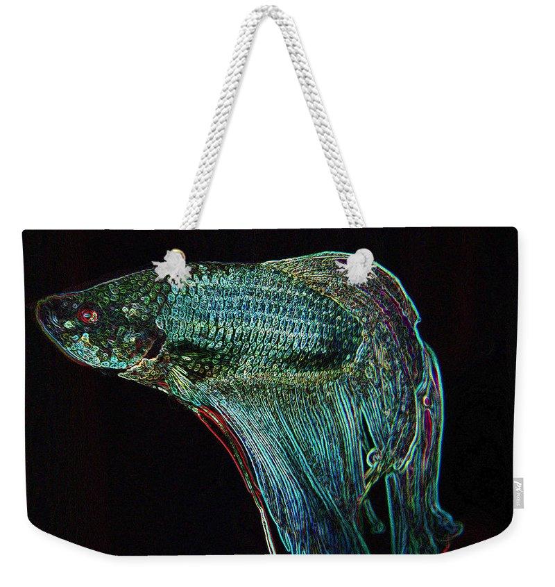 Fish Weekender Tote Bag featuring the digital art A Fish Called Poe 2 by Julie Niemela