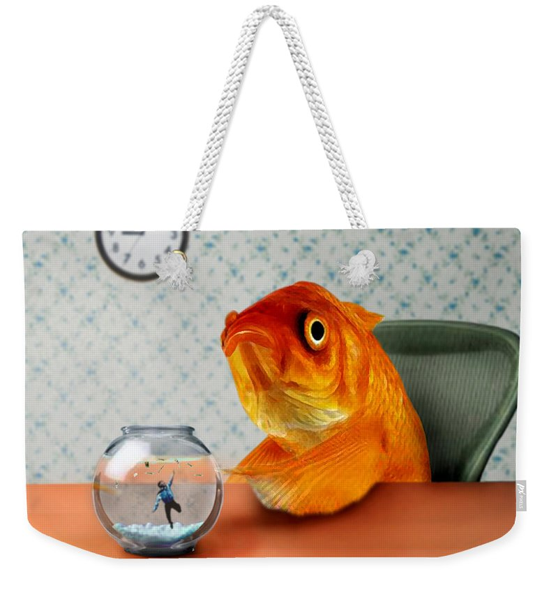 A Fish Out Of Water Weekender Tote Bag featuring the mixed media A Fish Out Of Water by Carrie Jackson