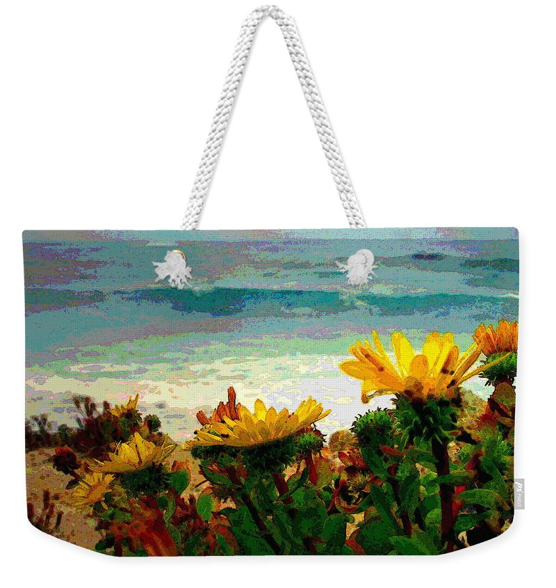 Watercolor Weekender Tote Bag featuring the photograph A Flowery View Of The Surf Watercolor by Joyce Dickens