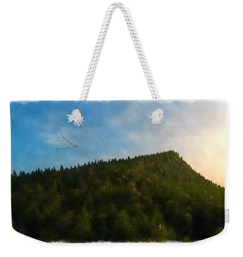 Landscape Weekender Tote Bag featuring the digital art A Forested Dune... by Tim Fillingim