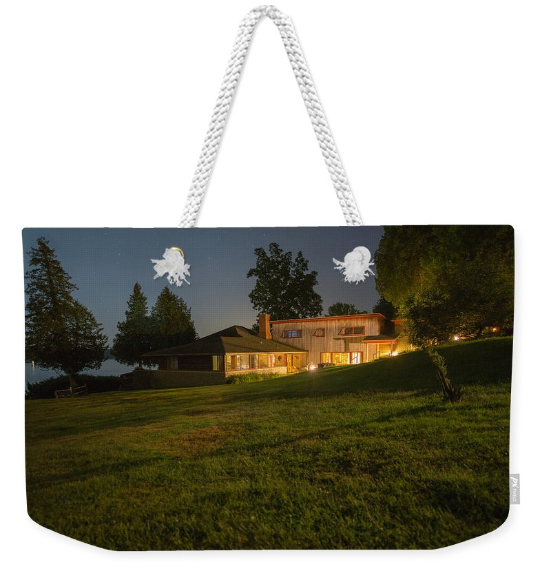Lake Weekender Tote Bag featuring the photograph A Frank Lloyd Wright Home On Lake Champlain by Michael French