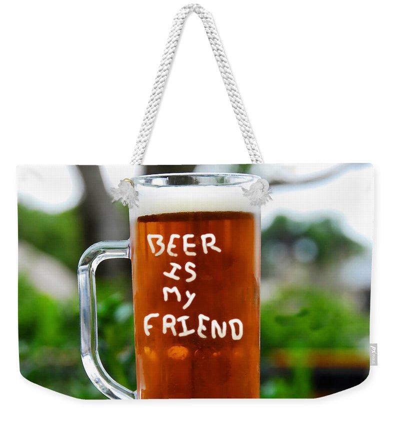 Beer Weekender Tote Bag featuring the painting A Friendly Beer by David Lee Thompson