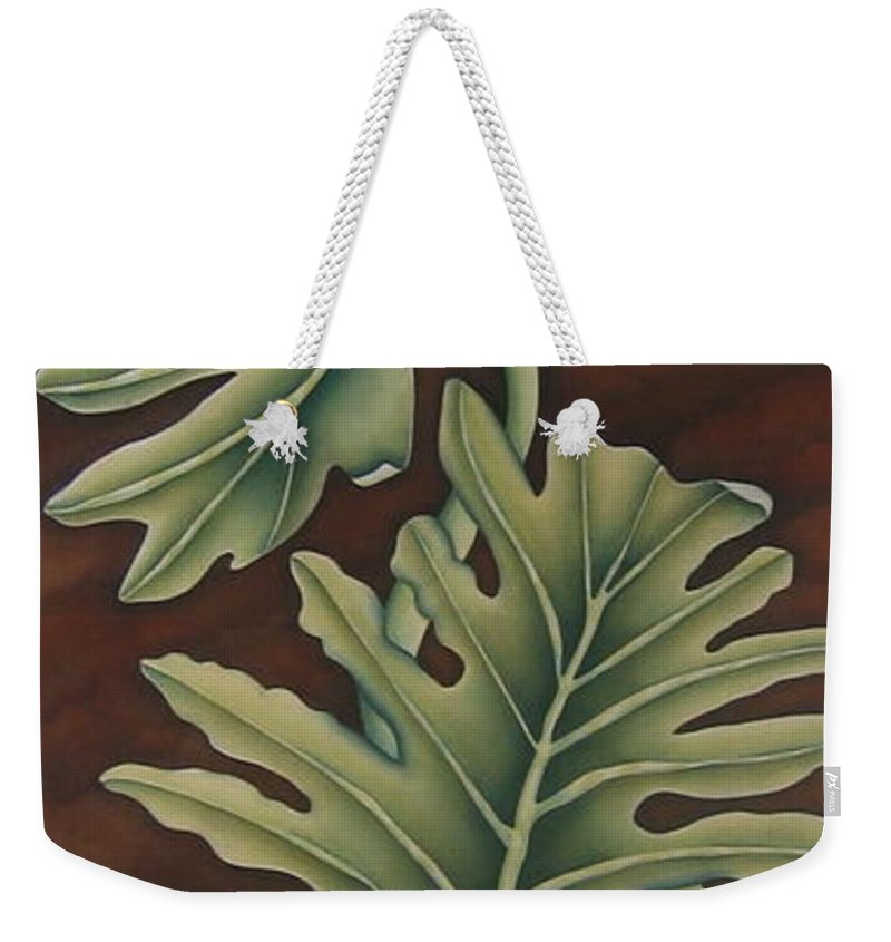 Frog Weekender Tote Bag featuring the painting A Frog On A Philodendron by Jeniffer Stapher-Thomas