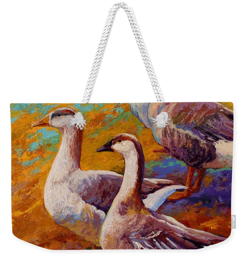 Geese Weekender Tote Bag featuring the painting A Gaggle Of Four by Marion Rose
