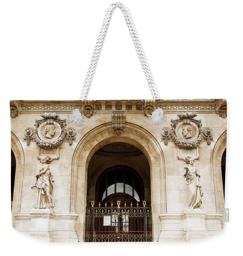 Garnier Weekender Tote Bag featuring the photograph A Gate To The Opera by Hany J