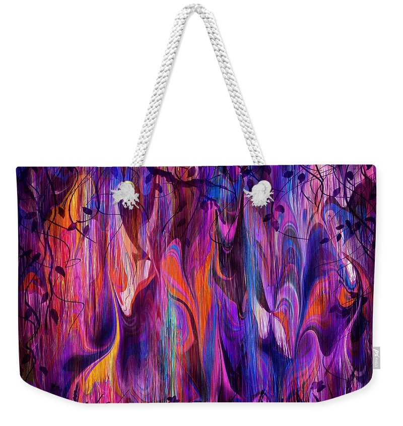 Abstract Weekender Tote Bag featuring the digital art a Gathering by Rachel Christine Nowicki