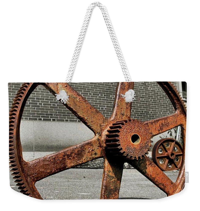 Bethlehem Steel Weekender Tote Bag featuring the photograph A Gear In A Gear by DJ Florek