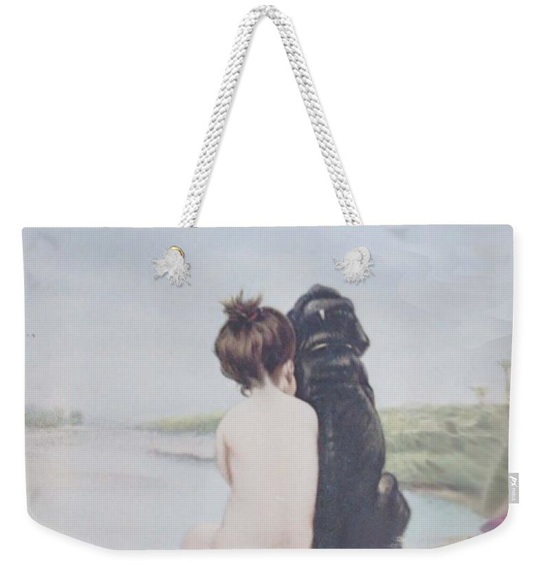 Girl Weekender Tote Bag featuring the painting Bathing Beauties By Bruno Piglhein by Priscilla Wolfe
