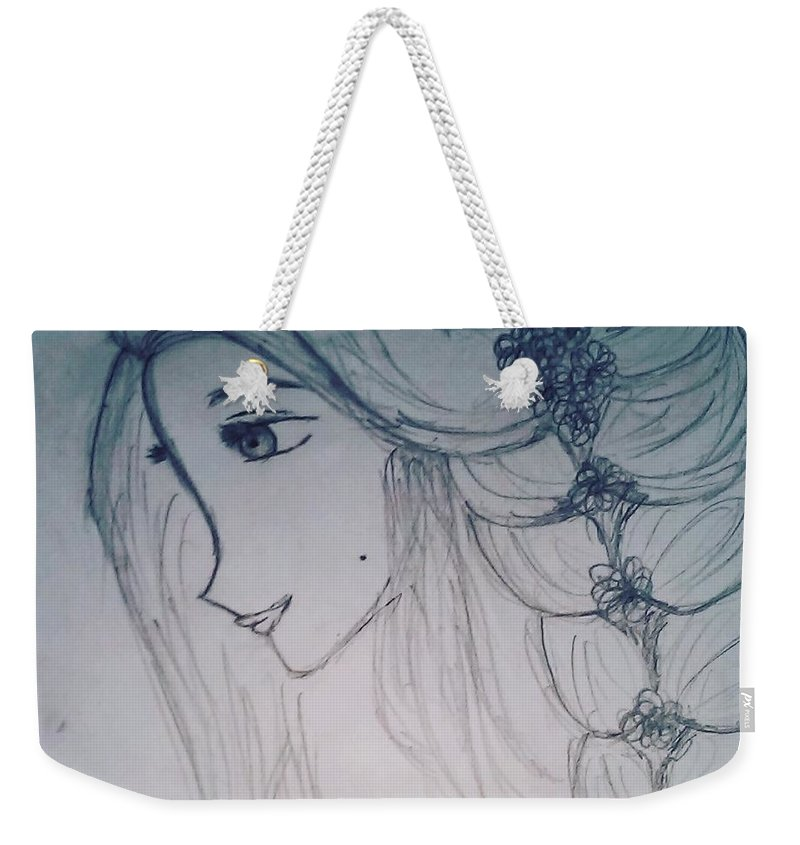 Girl Weekender Tote Bag featuring the drawing A Girl by Chandana R