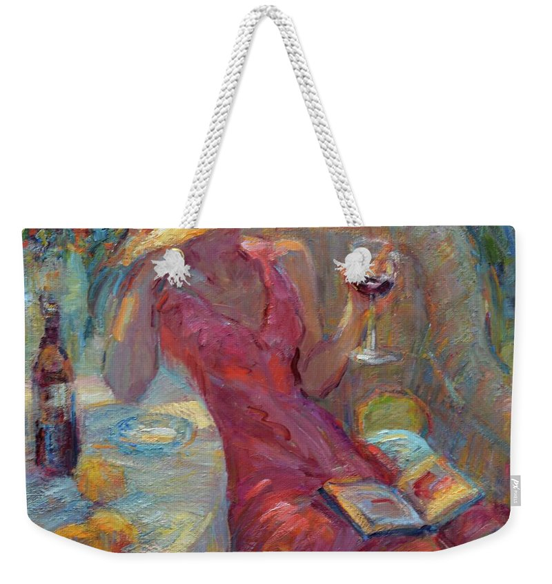 Impressionist Artist Weekender Tote Bag featuring the painting A Glass Of Red by Diane Leonard