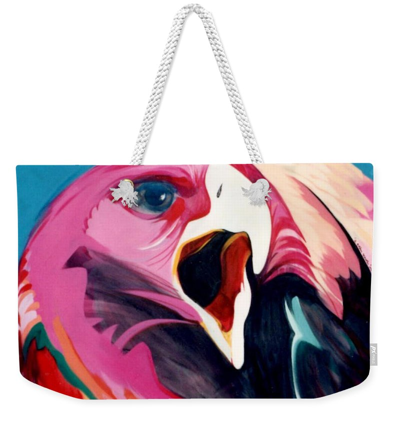 Raptor Weekender Tote Bag featuring the painting A Golden Mantles by Marlene Burns