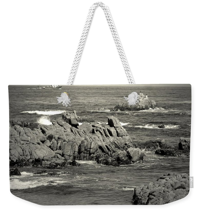 Fishing Weekender Tote Bag featuring the photograph A Good Day Fishing On Monterey Bay In Black And White by Joyce Dickens