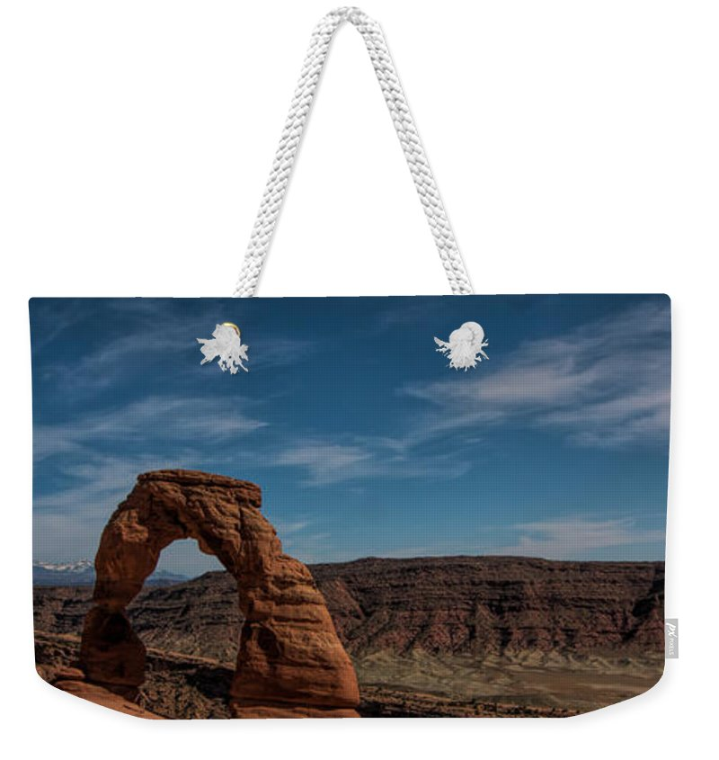 Delicate Arch Weekender Tote Bag featuring the photograph A Great Arch by Jonathan Davison